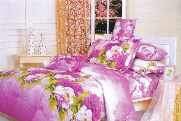 夜雅家纺牡丹花语-紫活性印染四件套牡丹花语-紫