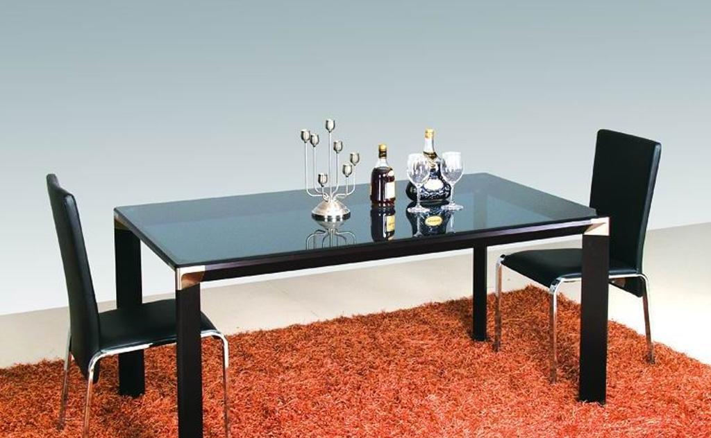 卡丽亚CBS-20178-BL现代风格玻璃不锈钢餐桌<br />CBS-20178-BL