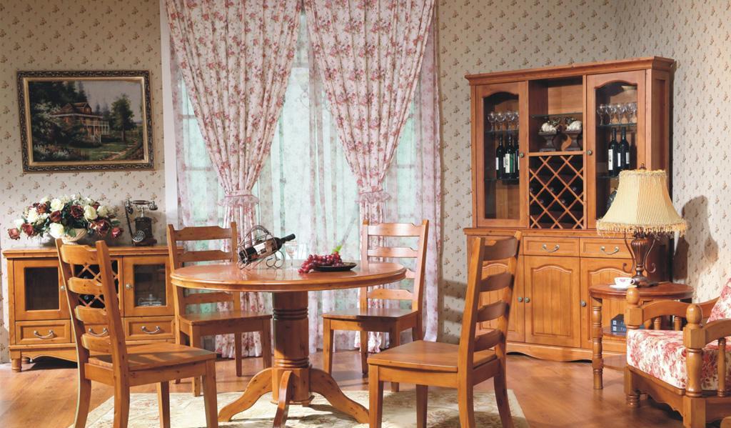 树之语艾丁堡柏木系列FS8073圆餐桌+FS8067餐椅FS8073