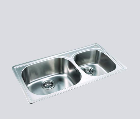 得而达双槽不锈钢水槽(双孔)SS12008SS12008