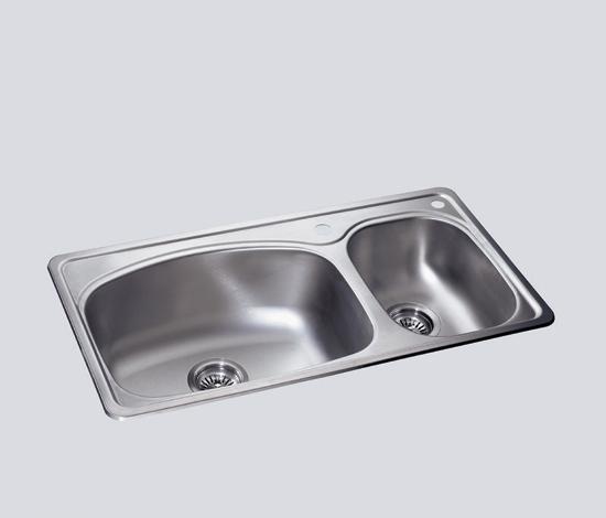得而达双槽不锈钢水槽(单孔)SS12004