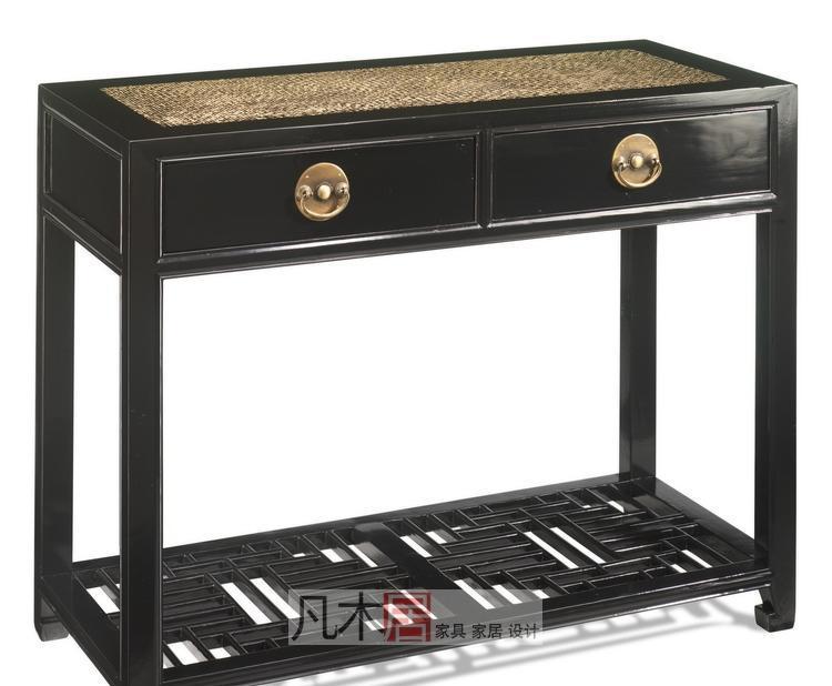 凡木居现代中式系列A4010藤面马蹄两抽桌(带花板A4010