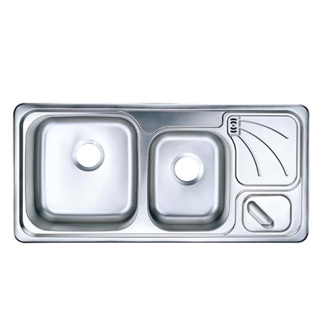 大小槽带沥水板带溢水不锈钢厨盆