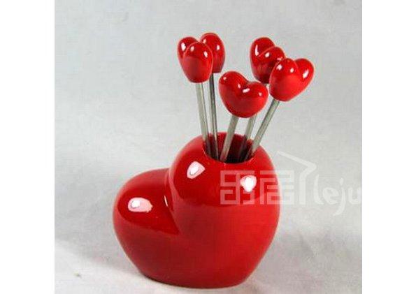 韩版心形水果叉