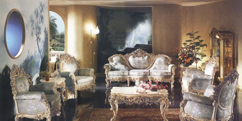 罗浮居沙发意大利SILIK家具银色八件套