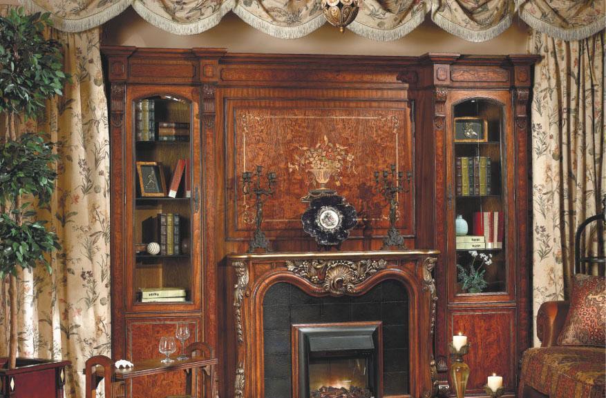 大风范家具路易十六书房系列LV-556组合书柜壁炉LV-556组合书柜壁炉背..