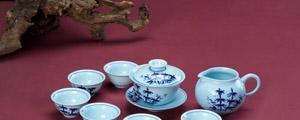 恒福茶具青花竹子半组1盖碗1茶海6品杯