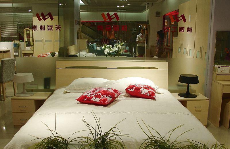 诺捷卧室家具双人床架6B001-B+6B101-B白枫6B001-B+6B101-B