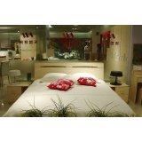 诺捷卧室家具双人床架6B001-B+6B101-B白枫