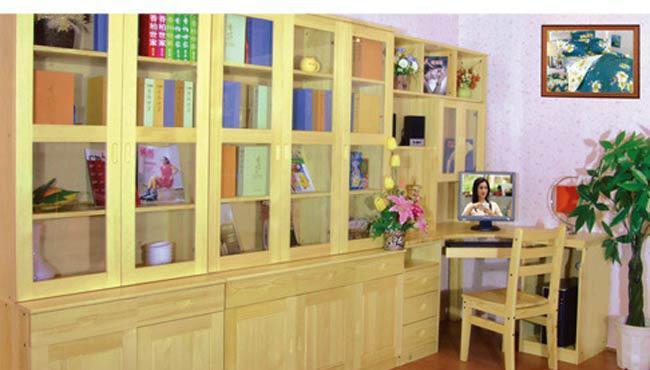 香柏年实木家具两门两抽书柜两门两抽书柜