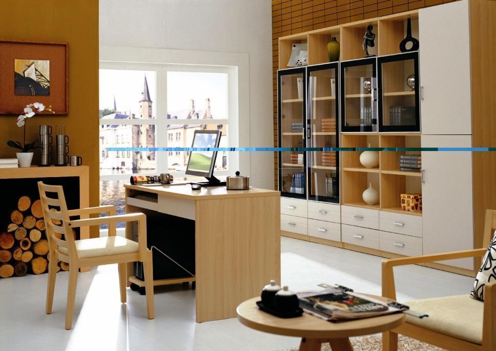 华源轩- 书房家具-白榉系列-三门书柜-B801CB801C