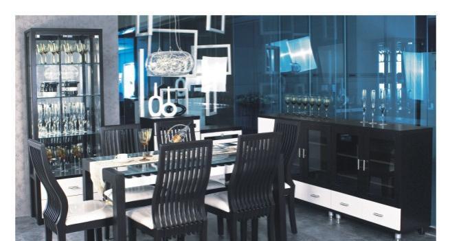 华源轩餐厅餐边柜黑橡配白系列U312U312