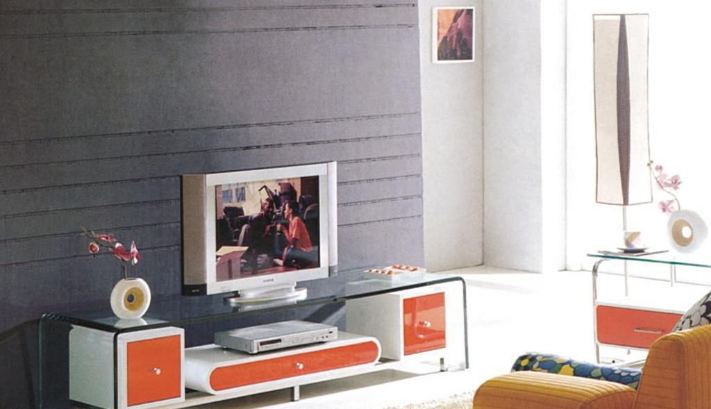 朗臣简约时尚系列698橘红电视柜698橘红