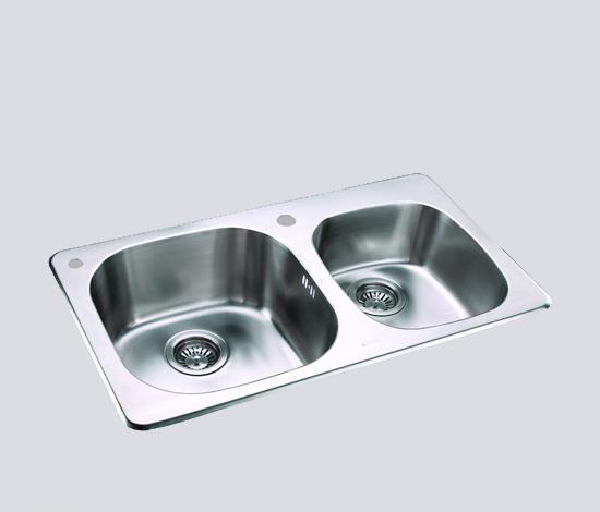 得而达双槽不锈钢水槽(双孔)SS12007770mm×445mm