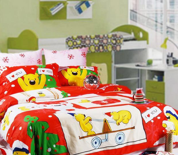 多喜爱圣诞对对熊纯棉床品三/四件套圣诞对对熊