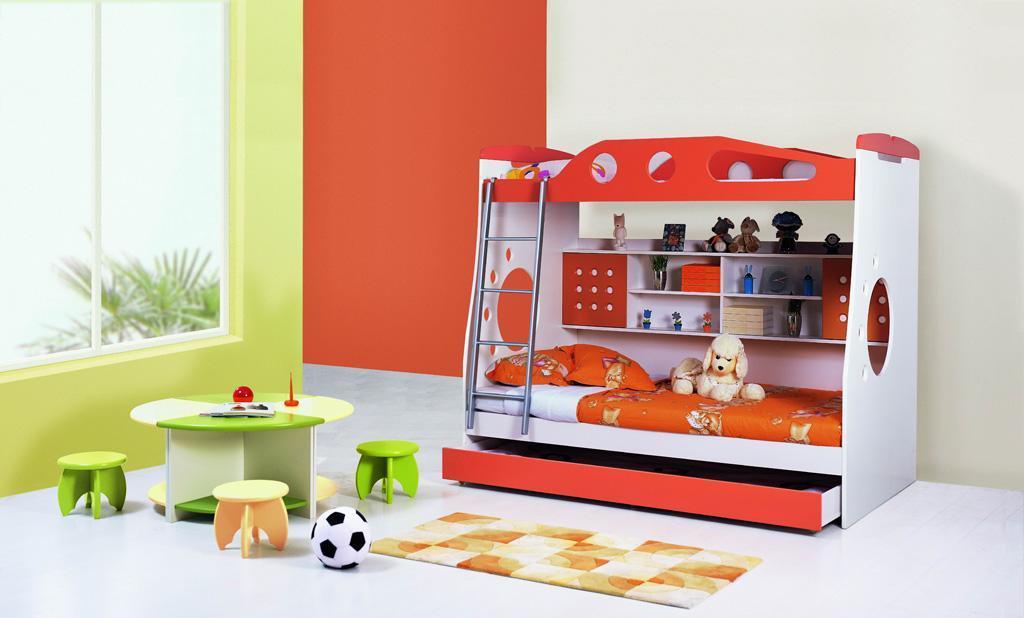 未来之窗HY-671母子床(桔红色)HY-671