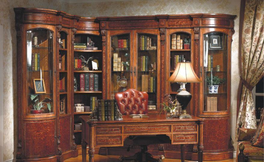 大风范家具路易十六书房系列LV-553圆角书柜LV-553圆角书柜