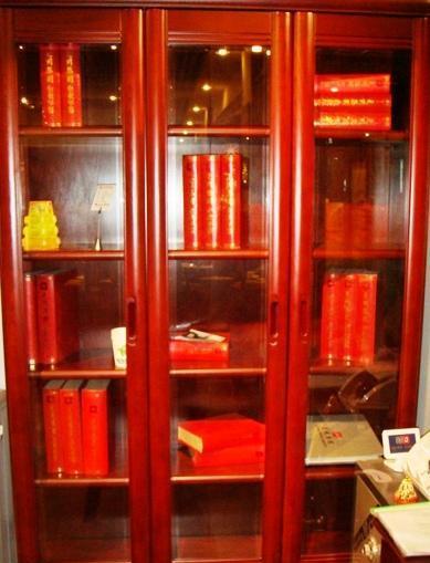 光明实木书房家具系列-三门书柜001-6份17-7208B001-6份17-7208B