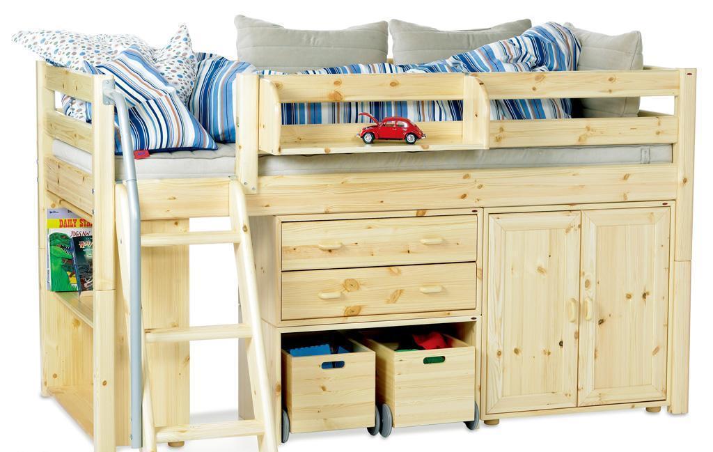 丹麦芙莱莎儿童家具中高床组合MAIKE2(本木色)MAIKE2