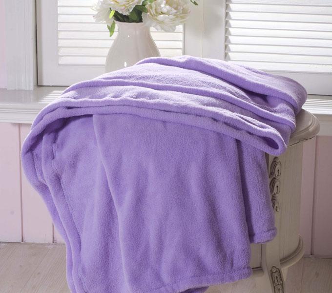 珑棉家纺超柔珊瑚绒毯淡紫色