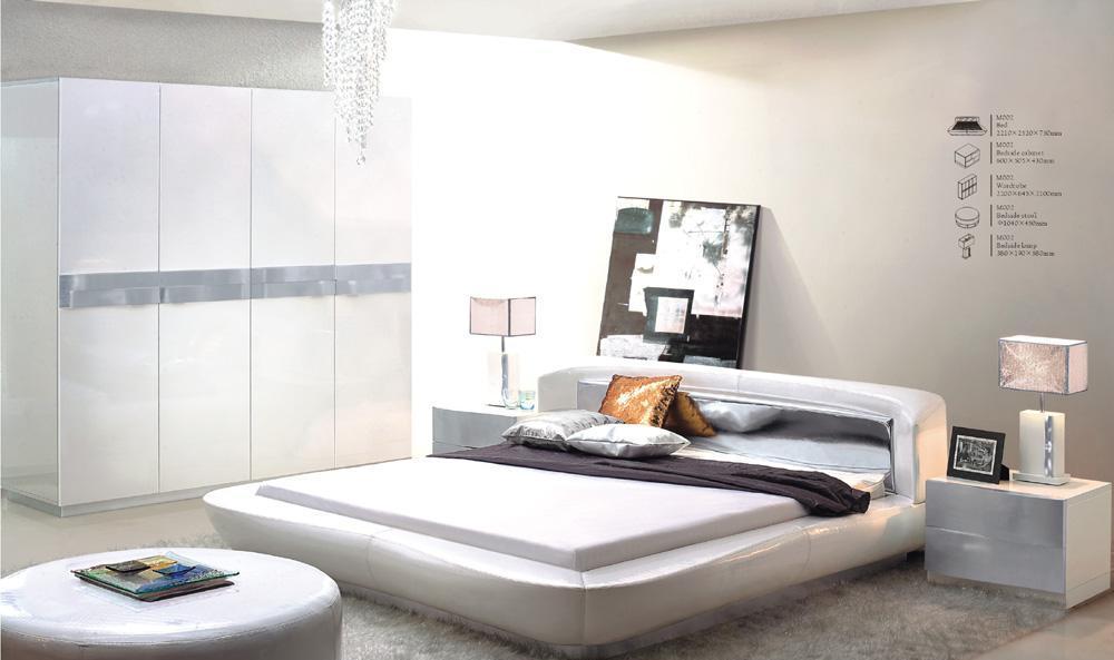 树之语铭爵系列M002大床+床头柜+床头灯+衣柜+床尾凳 <br />M002