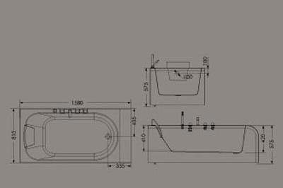 惠达HD1312龙头浴缸(双面裙边)HD1312