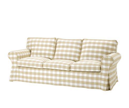 宜家三人沙发爱克托(米黄色/蓝色/白黑色/多色/蓝色)三人沙发