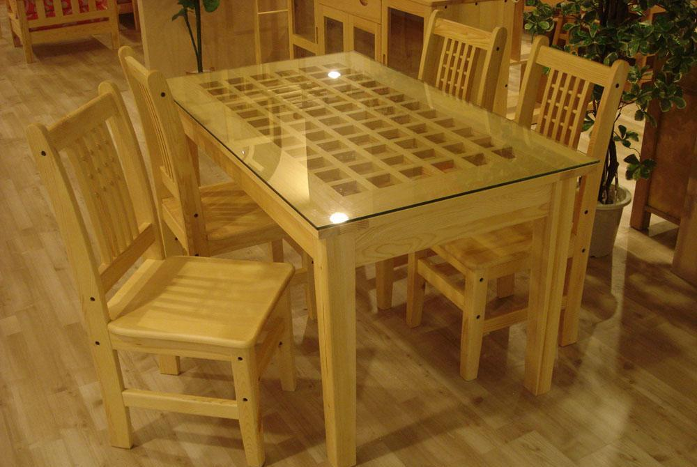 树之语新艾薇尔松木原木色系列CZ-1玻璃餐桌CZ-1
