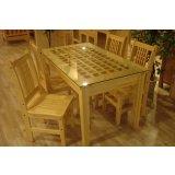树之语新艾薇尔松木原木色系列CZ-1玻璃餐桌