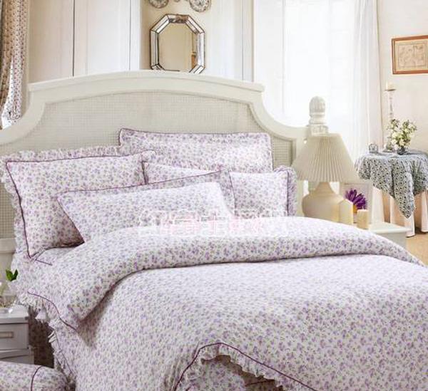 红富士FA-8全棉印花床裙四件套-小印花紫小印花紫