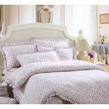 红富士FA-8全棉印花床裙四件套-小印花紫