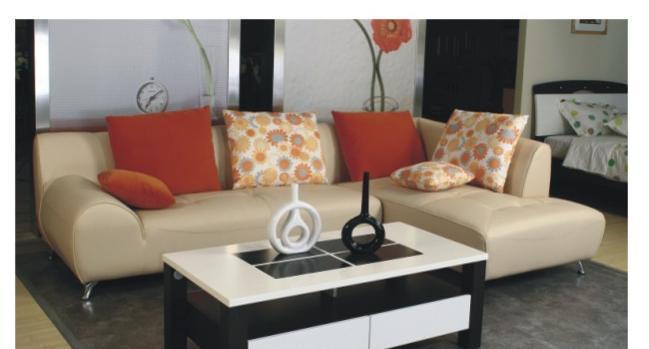华源轩客厅转角沙发黑橡配白系列SF8003-3SF8003-3