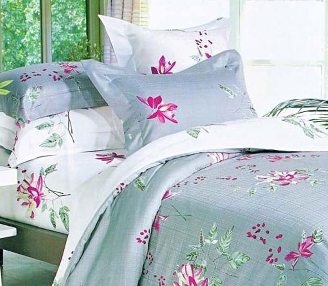 爱可布鲁塞尔孔雀草床上用品提花加印花全棉四件